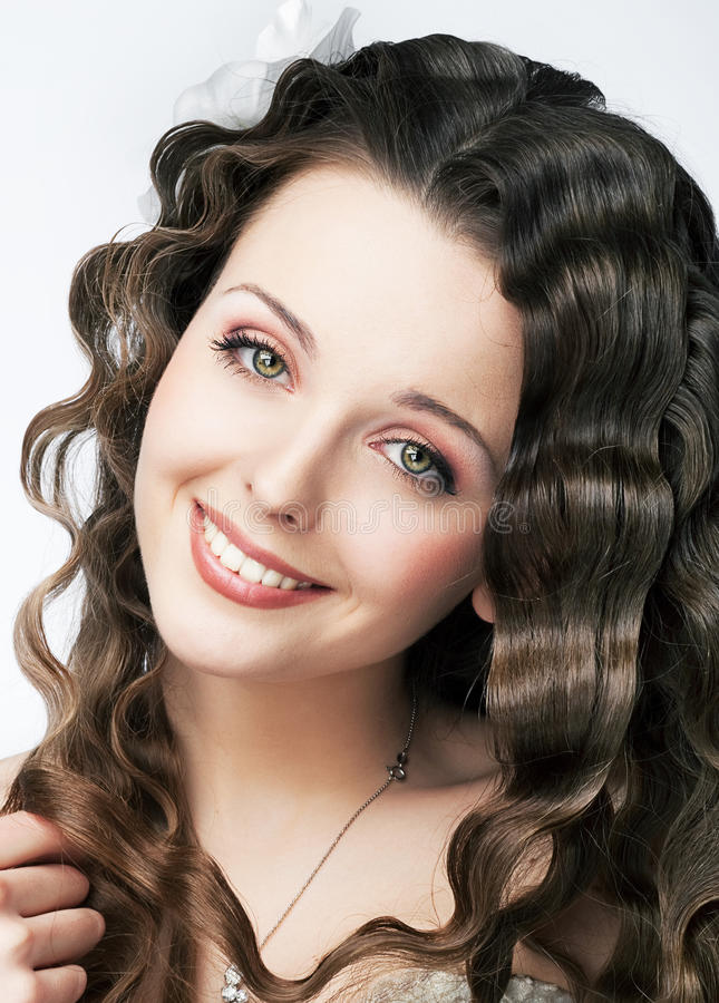 Ładny uśmiech młody świeży kobiety piękna makeup fotografia royalty free
