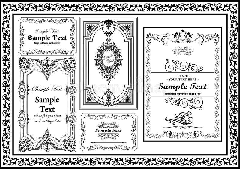 Ładny ustalony dekoracyjny rocznik ramy czerni kolor ilustracja wektor