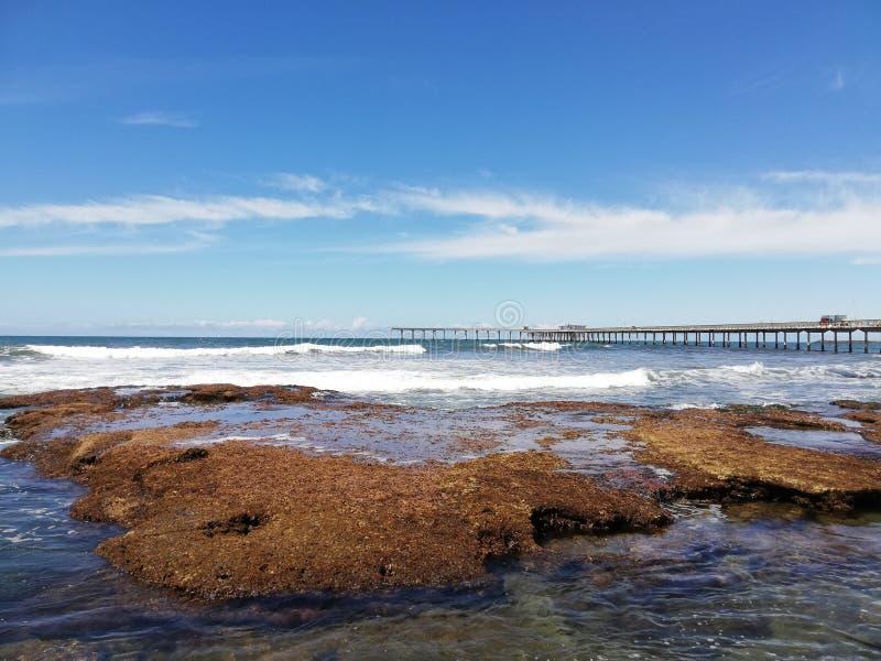 Ładny widok wybrzeże przy San Diego Kalifornia, ocean fotografia stock