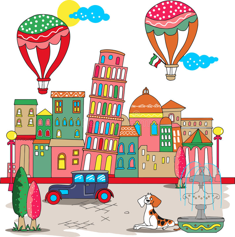 Ładny wierza Pisa w Włochy wektorze royalty ilustracja