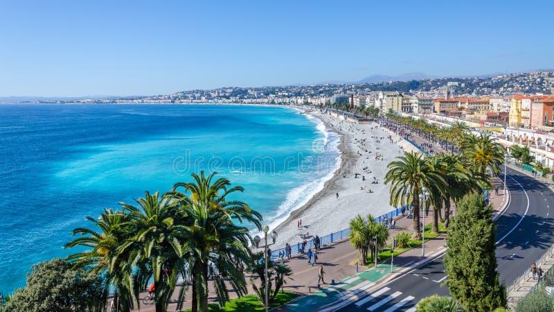 Ładny wizyty karty widok na zatoce aniołowie, Francja zdjęcie stock