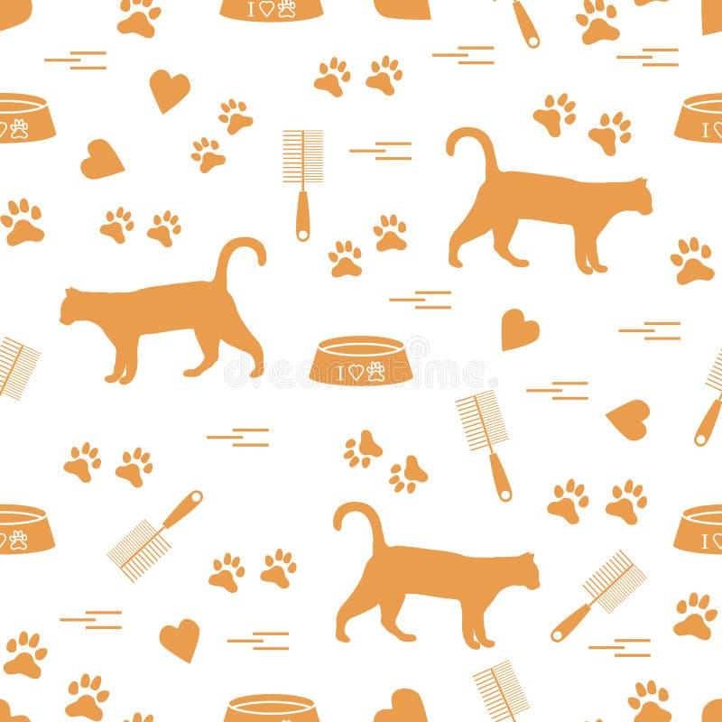 Ładny wzór sylwetka chodzący kot, ślada, serca, puchar i ilustracji