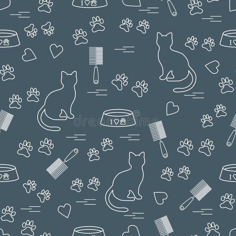 Ładny wzór sylwetka siedzący kot, ślada, serca, puchar i ilustracja wektor