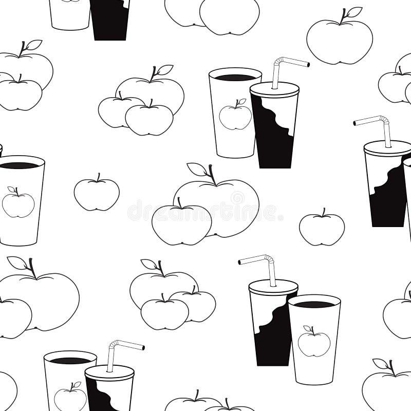 Ładny wzór z jabłkami i filiżankami sok w czarny i biały co ilustracja wektor