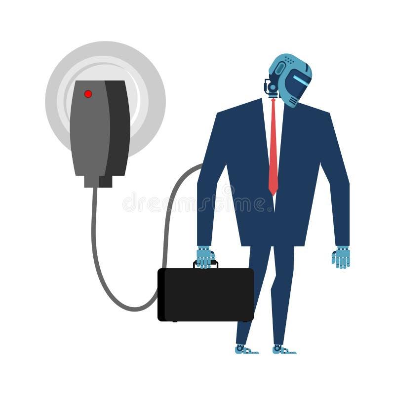 Ładować dla cyborga Robot w kostiumu i ładowarce Sztuczny Intel ilustracja wektor