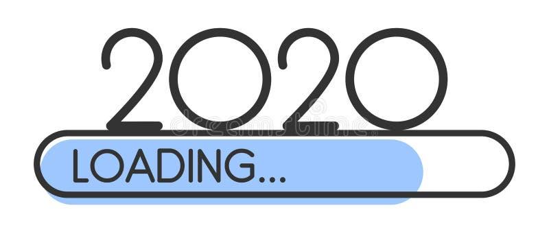 Ładować 2020 nowy rok błękitnego kreatywnie świątecznego sztandar ilustracji