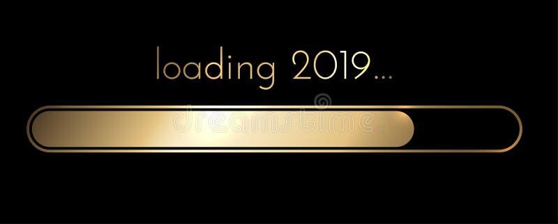 Ładować 2019 nowy rok złotego kreatywnie świątecznego sztandar ilustracja wektor