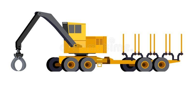 Ładowacza forwarder pojazd ilustracja wektor