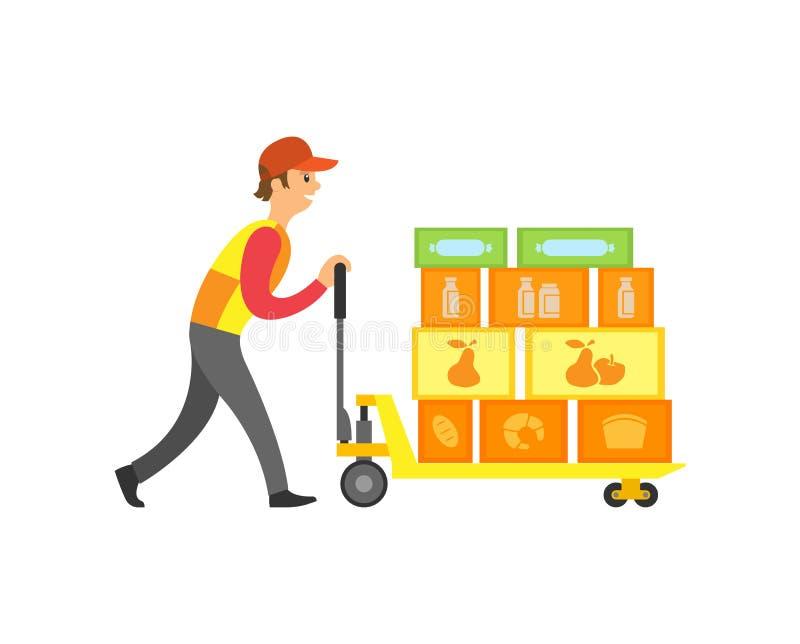 Ładowacza pracownik w supermarkecie z pudełkami Wektorowymi ilustracja wektor