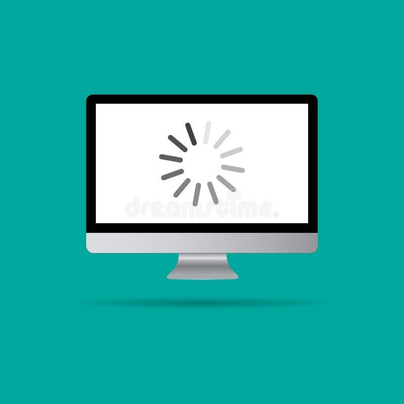 Ładownicza ikona na komputerze ilustracji