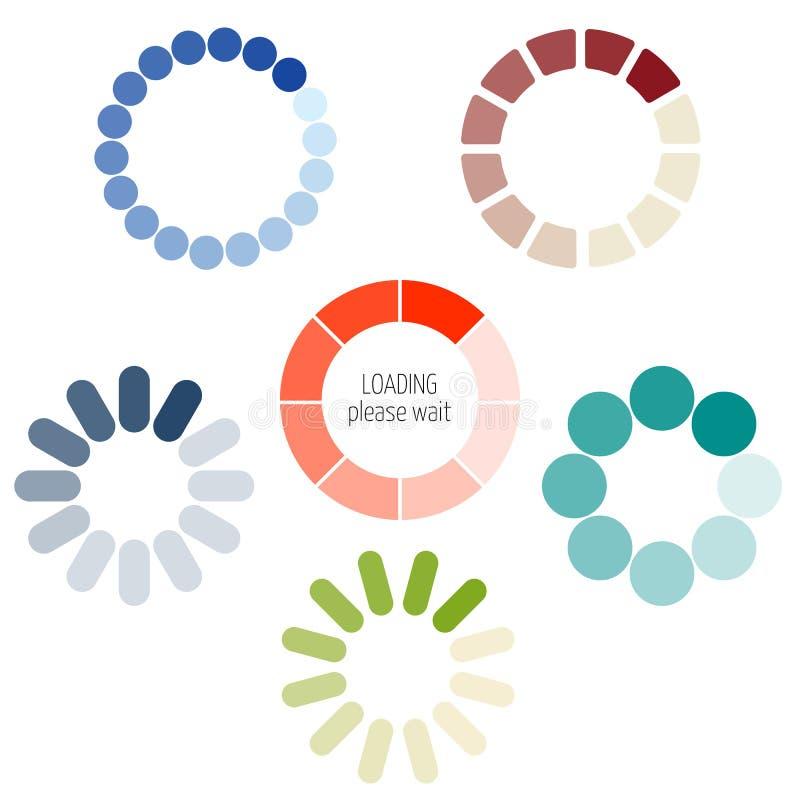 Ładowniczego procesu ikony kółkowy set ilustracja wektor