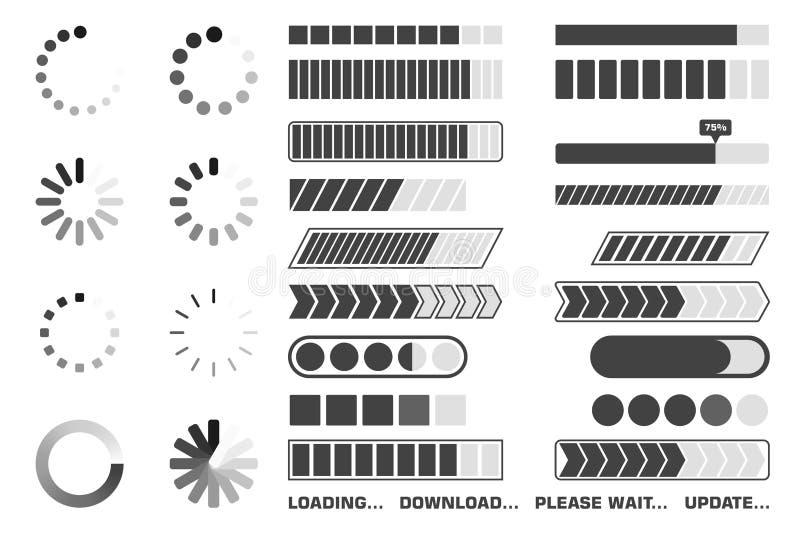 Ładowniczego procesu ikony ustawiać Ściąga wskaźnika znaka i upload, czeka symbole wektor ilustracja wektor