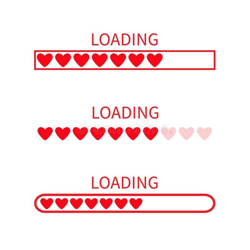 Ładowniczy postępu statusu baru ikony set Miłości kolekcja Czerwony serce Śmieszny szczęśliwy valentines dnia element Sieć projek ilustracja wektor