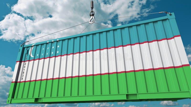 Ładowniczy zbiornik z flagą Uzbekistan Uzbeka eksport lub import odnosić sie konceptualnego 3D rendering zdjęcia royalty free