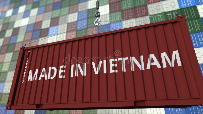 Ładowniczy zbiornik z ROBIĆ W WIETNAM podpisie Wietnamczyka eksporta lub importa powiązany 3D rendering ilustracja wektor
