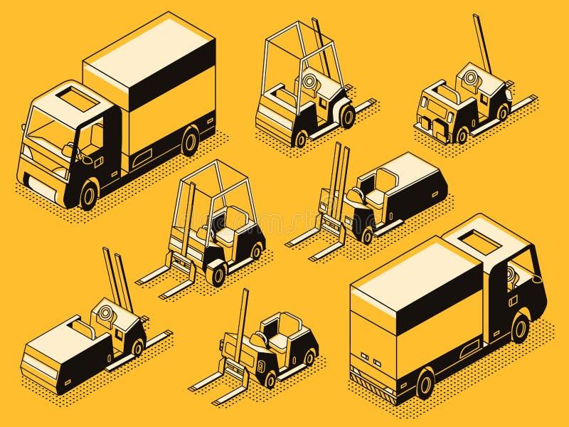 Ładunek ciężarowe i ładownicze maszyny wykładają wektoru set ilustracji