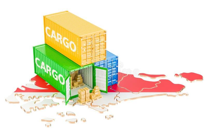 Ładunek dostawa od Singapur pojęcia i wysyłka, 3D rendering ilustracji