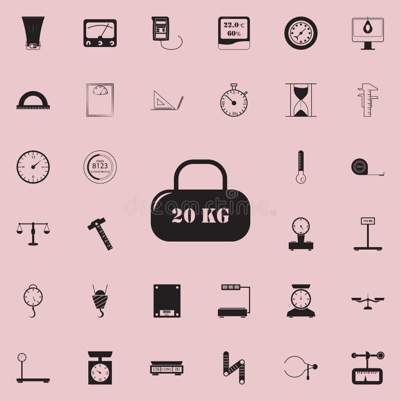 ładunek 20 kilo ikon Szczegółowy set Pomiarowych elementów ikony Premii ilości graficznego projekta znak Jeden kolekcja ja royalty ilustracja
