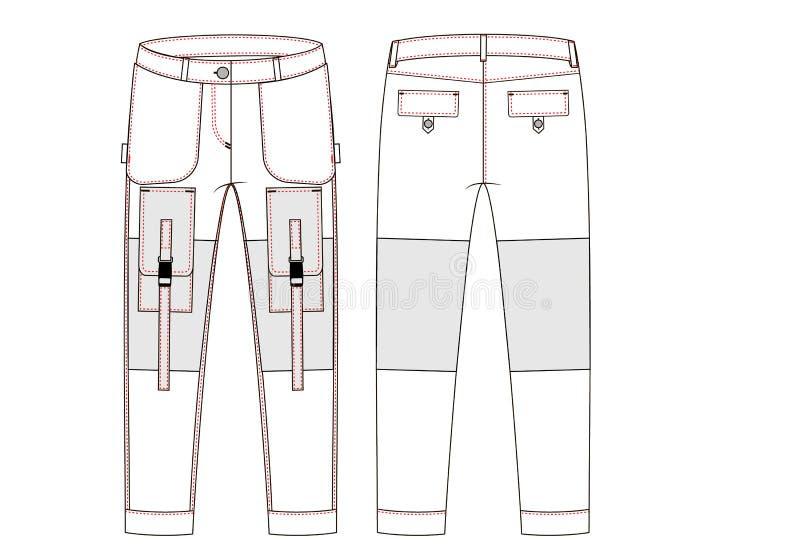 Ładunków spodnia z ampuły stroną wkładać do kieszeni technicznego nakreślenie Frontowi i tylni widoki - Vektorgrafik obraz stock