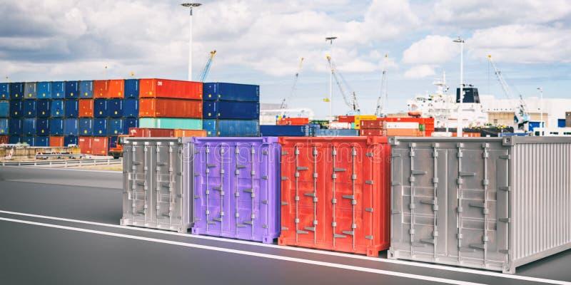 Ładunków zbiorniki, plamy schronienia tło Importowy eksport, logistyki pojęcie ilustracja 3 d royalty ilustracja