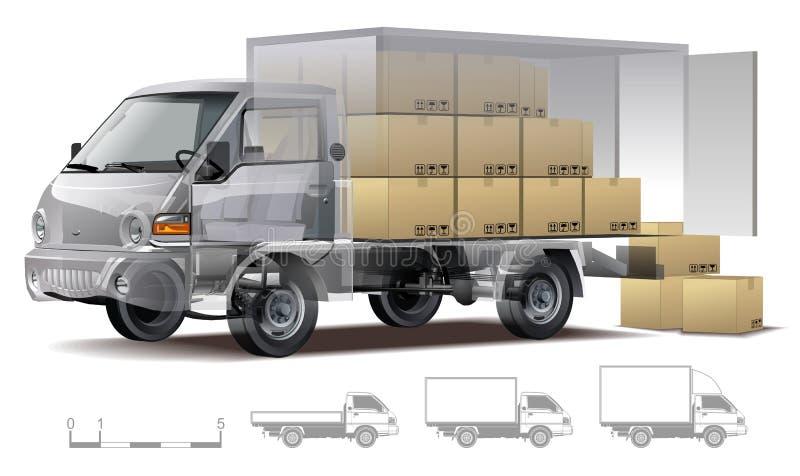 ładunku doręczeniowej ciężarówki wektor royalty ilustracja