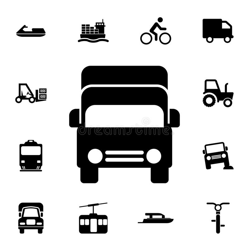 ładunku frontowego widoku ikona Szczegółowy set przewiezione ikony Premii ilości graficznego projekta znak Jeden inkasowe ikony d ilustracji