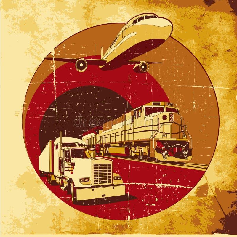 ładunku grunge transport ilustracja wektor