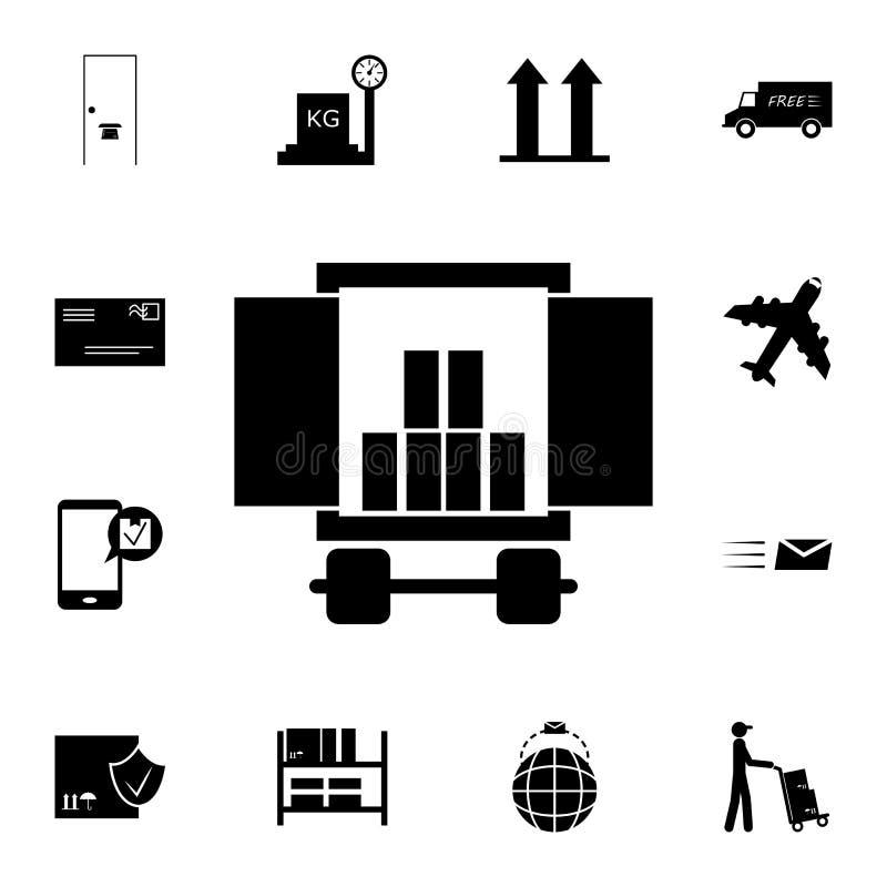 ładunku przedział samochód z ładunek ikoną Szczegółowy set logistycznie ikony Premii ilości graficznego projekta ikona Jeden coll royalty ilustracja