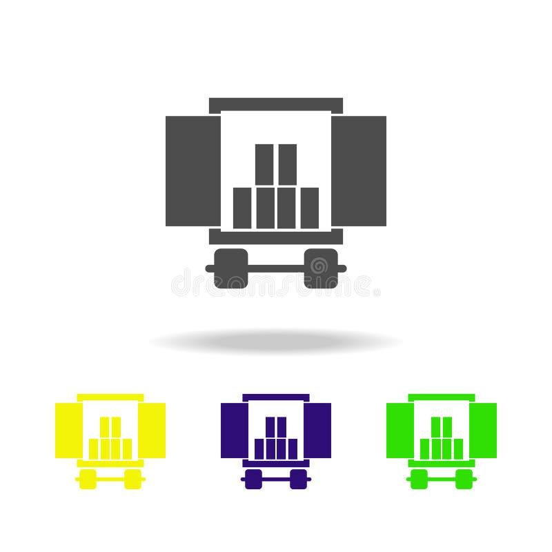ładunku przedział samochód z ładunku stubarwnymi ikonami Znaki i symbol inkasowa ikona dla stron internetowych, sieć projekt, wis ilustracja wektor