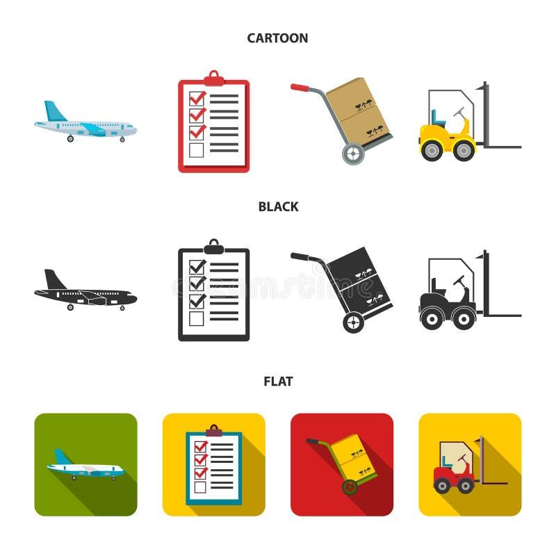 Ładunku samolot, fura dla transportu, pudełka, forklift, dokumenty Logistycznie, ustawia inkasowe ikony w kreskówce, czerń, miesz ilustracja wektor