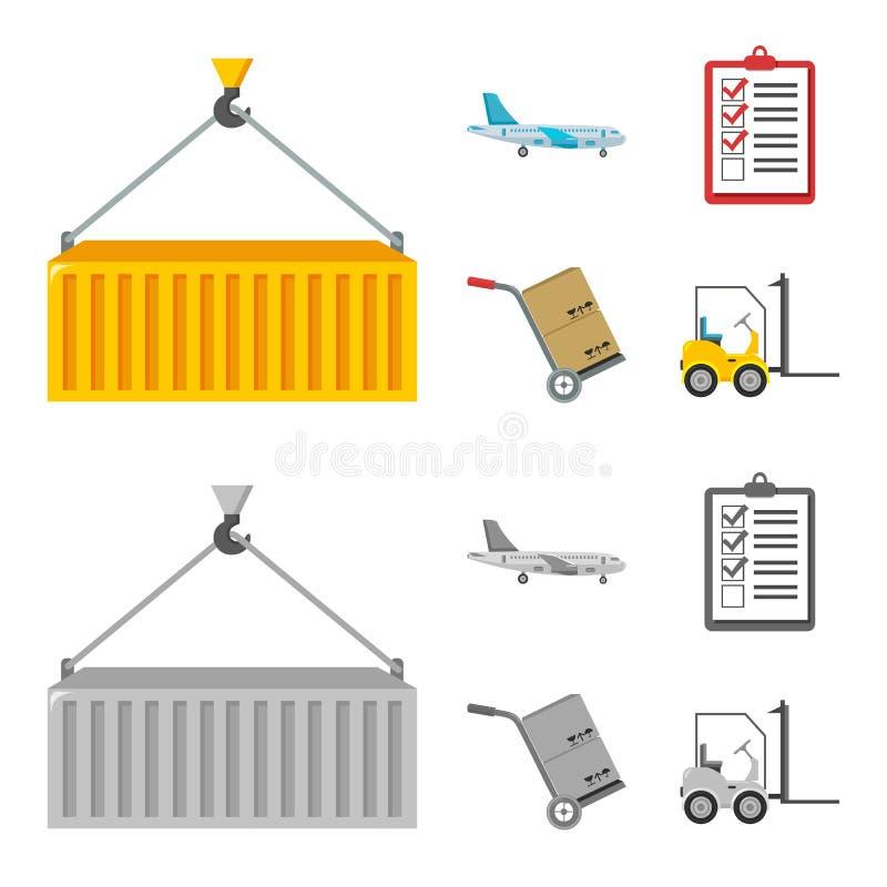 Ładunku samolot, fura dla transportu, pudełka, forklift, dokumenty Logistycznie, ustawia inkasowe ikony w kreskówce, monochrom ilustracja wektor