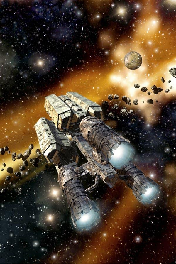 Ładunku statek kosmiczny w asteroidy polu ilustracja wektor