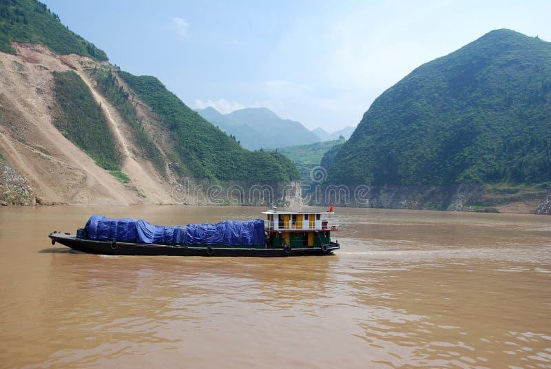 Ładunku statek na jangcy, Chiny zdjęcia royalty free