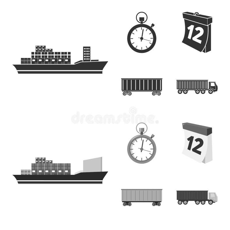 Ładunku statek, stopwatch, kalendarz, kolejowy samochód Logistycznie, ustawia inkasowe ikony w czarnym, monochromu stylowy wektor royalty ilustracja