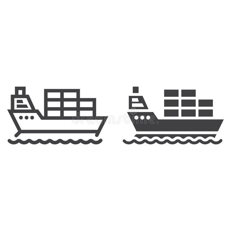 Ładunku statku linia i glif ikona, logistycznie royalty ilustracja