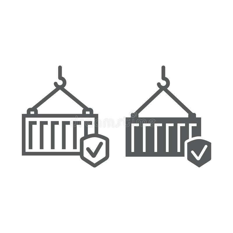 Ładunku ubezpieczenia linia, glif ikona, dostawa i ochrona, wysyłka zbawczy znak, wektorowe grafika, liniowy wzór dalej ilustracja wektor