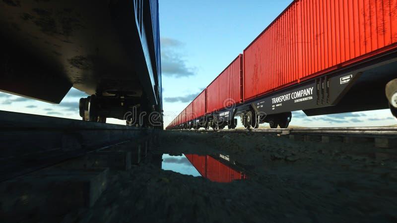 ładunku zbiorników pociąg towarowy Logystic pojęcie świadczenia 3 d ilustracja wektor