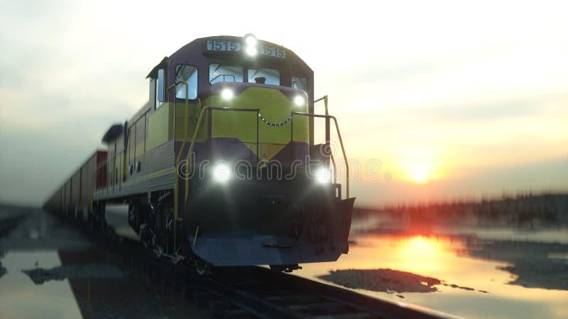 ładunku zbiorników pociąg towarowy Przeciw wschodowi słońca świadczenia 3 d ilustracji