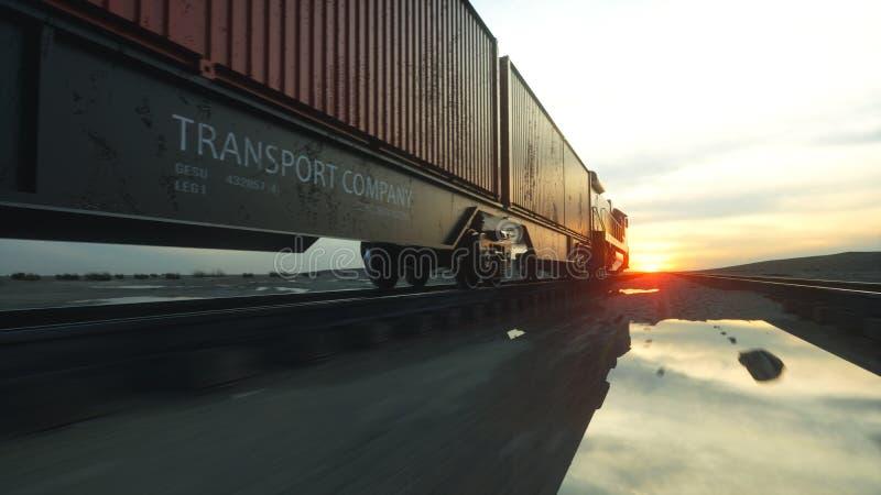 ładunku zbiorników pociąg towarowy Przeciw wschodowi słońca świadczenia 3 d royalty ilustracja