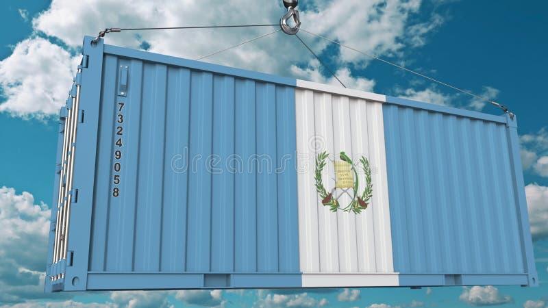 Ładunku zbiornik z flagą Gwatemala Gwatemalski import lub eksport odnosić sie konceptualnego 3D rendering ilustracji