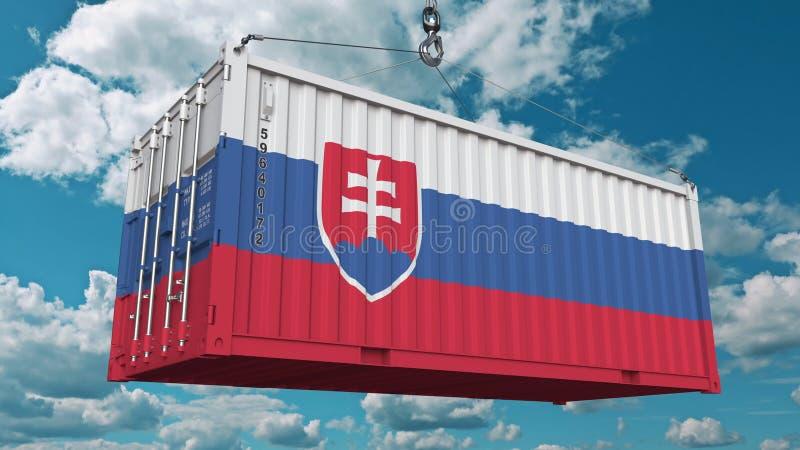Ładunku zbiornik z flagą Sistani Słowaka eksport lub import odnosić sie konceptualnego 3D rendering fotografia royalty free