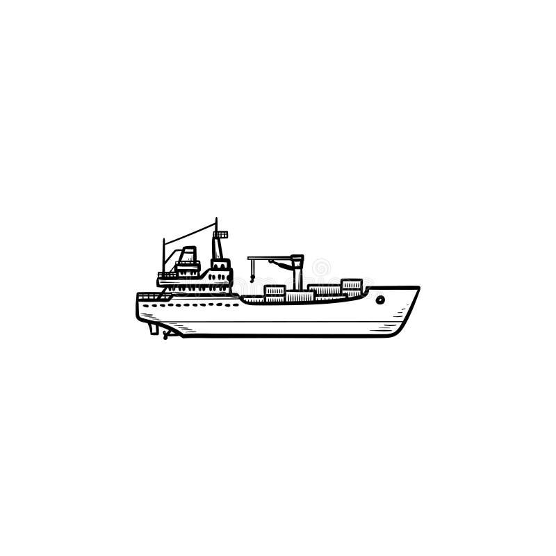 Ładunku zbiornika statku konturu doodle ręka rysująca ikona ilustracji