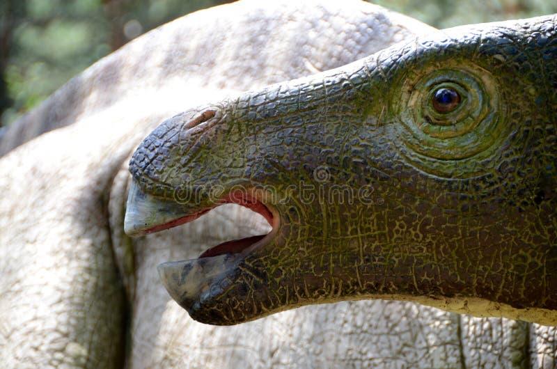 Łagodny, trawożerny dinosaur w lesie, obraz royalty free