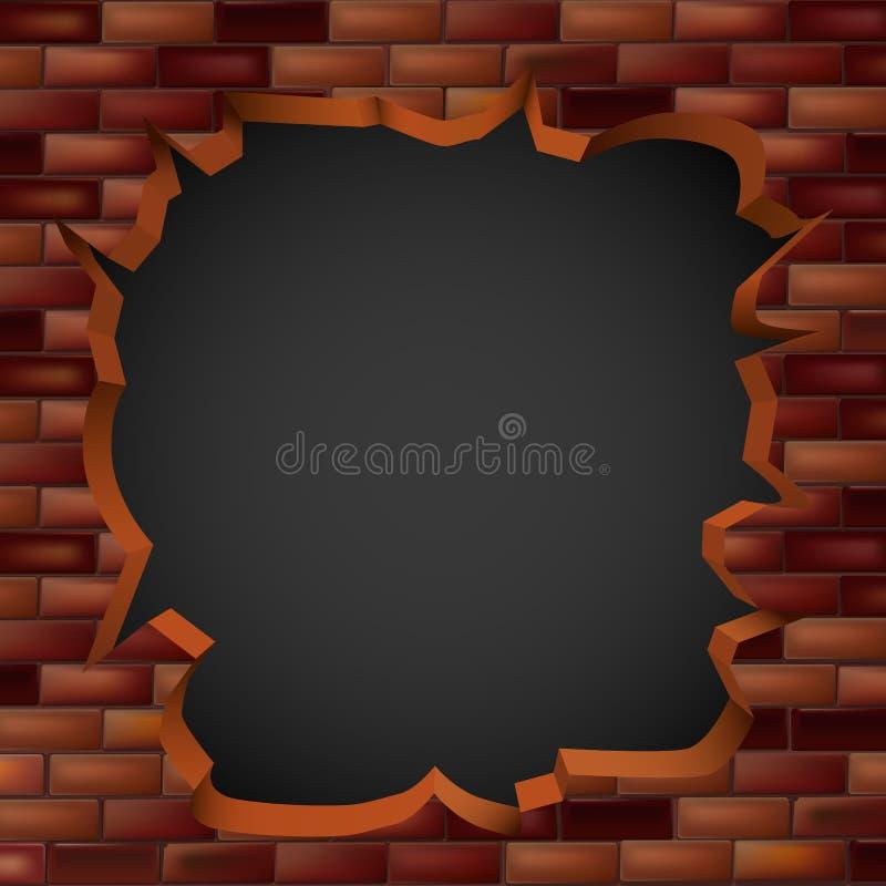 Łamać przez ściana z cegieł z dziurą ilustracji