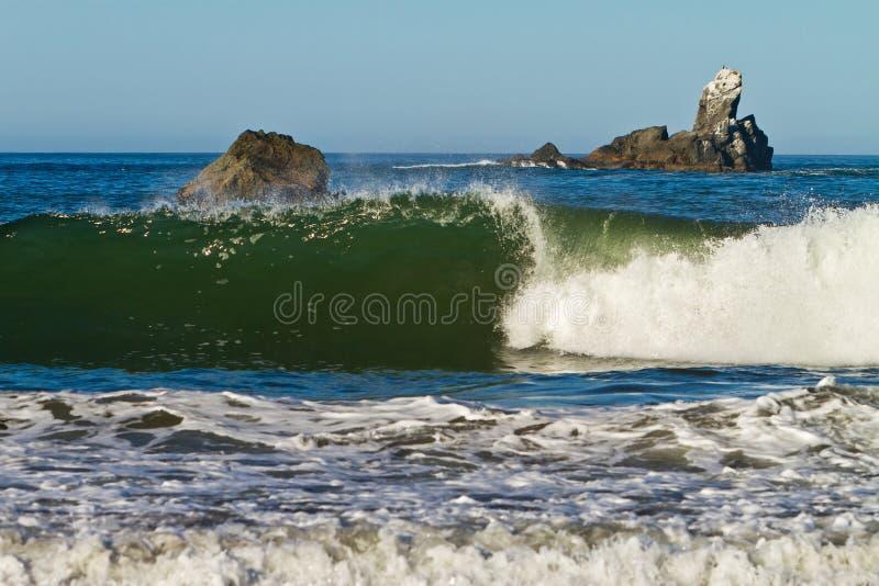 Łamać zieloną fala, Oregon wybrzeże obrazy stock