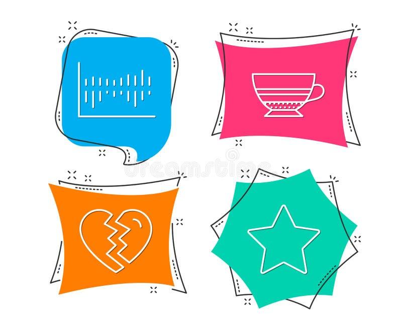 Łama up, mokka i Szpaltowego diagrama ikony Gwiazdowy znak Rozwód, filiżanka, sprzedaży statystyki Najlepszy kategoria royalty ilustracja