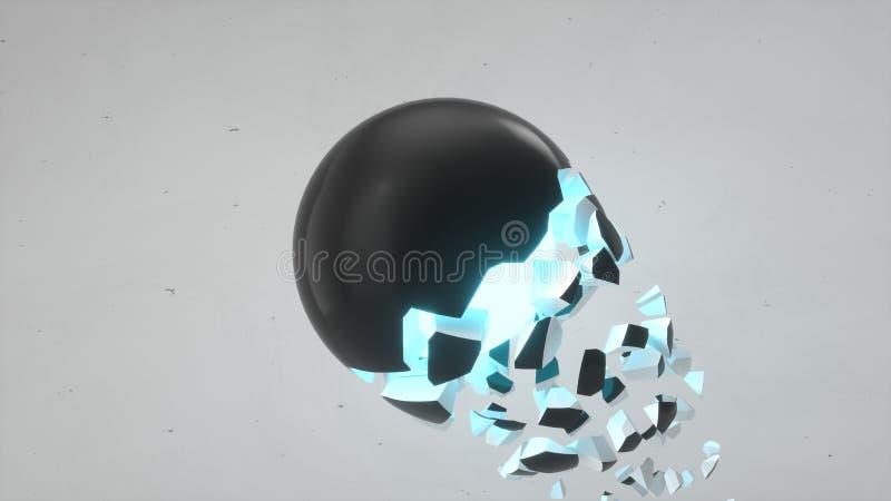 Łamająca czarna sfera z błękit łuną zdjęcie stock