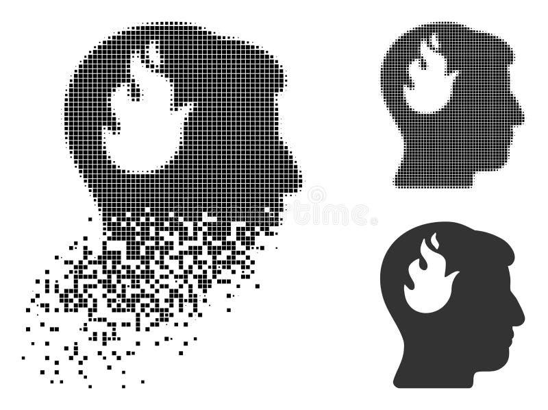 Łamająca piksla Halftone mózg ogienia ikona ilustracji