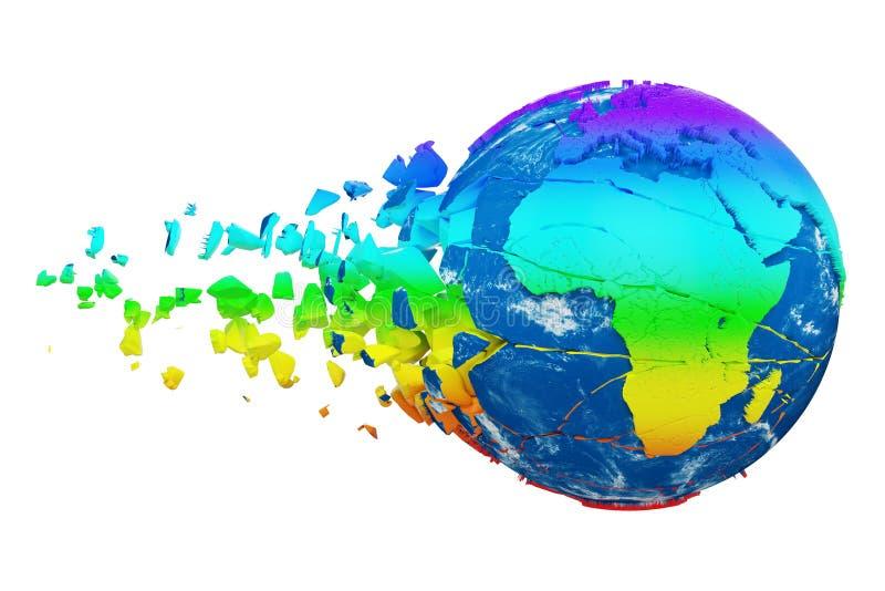 Łamająca zniweczona planety ziemi kula ziemska odizolowywająca na białym tle Tęcza realistyczny świat z cząsteczkami i gruzami ilustracji
