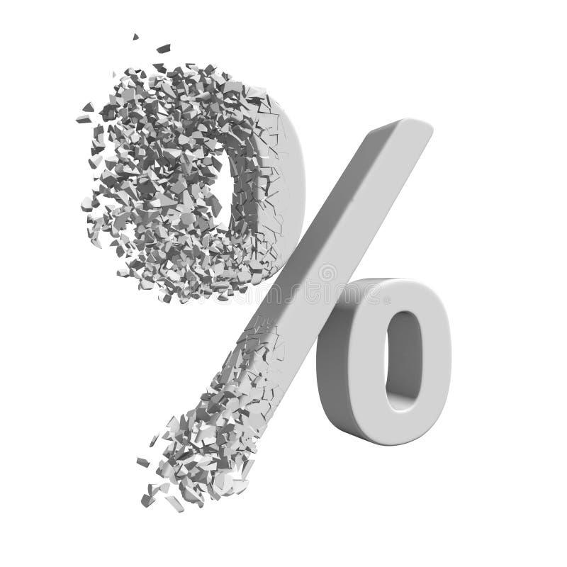 Łamający procentu rabata znak 3d ilustracja wektor